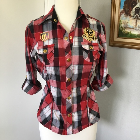 b2f1895b COOGI Tops | Cotton Gold Embellished Patch Plaid Shirt | Poshmark